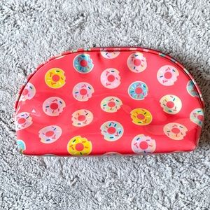 Donut Patterned Pink Vinyl Zipper Cosmetic Bag